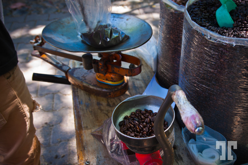 "Buying fresh Veracruz coffee at the ""merkado"" in Ajijic, on Lake Chapala, Mexico"