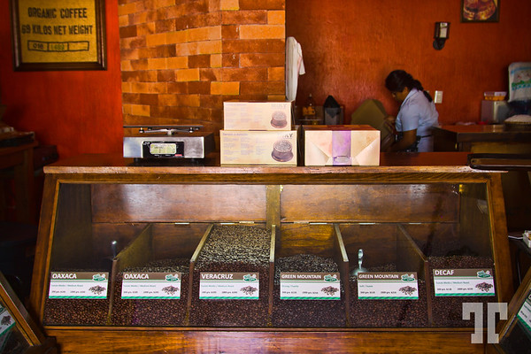 Fresh roasted coffee in a coffee shop downtown Ajijic, Mexico