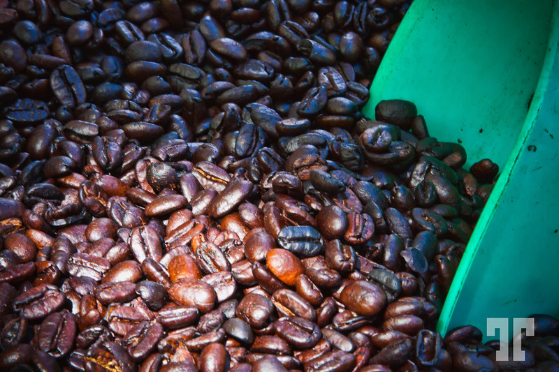 Freshly roasted coffee beans at the market in Ajijic, Mexico