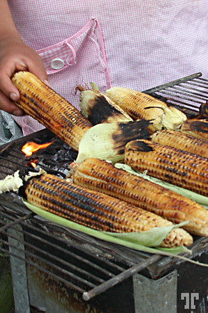 Grilling corn on May Day in Alameda Park, Mexico City