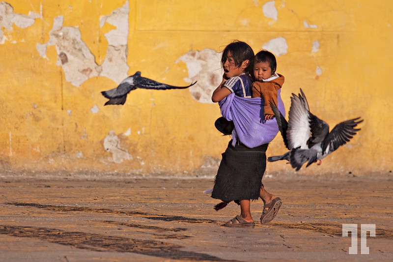 """Kids and birds in the plaza - San Cristobal de las Casas, Mexico  Entry for #45 """"Together or Apart - Single Exposure Challenge"""" San Cristobal de Las Casas, Chiapas, Mexico"""