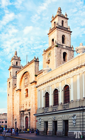 Catedral de San Ildefonso, Mérida, Mexico. Built in 1598 from the stones of an old Mayan temple