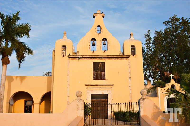 Yellow church in Merida Architecture elements Mexico