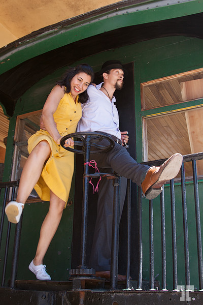 March 4 2012  Fun at the Jazz Festival in Boquete, Panama - Giselle Anguizola and her partner dancing in an old train.