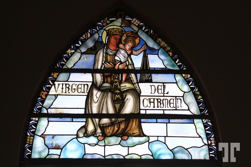 Stained glass windows of Boquete church Panama