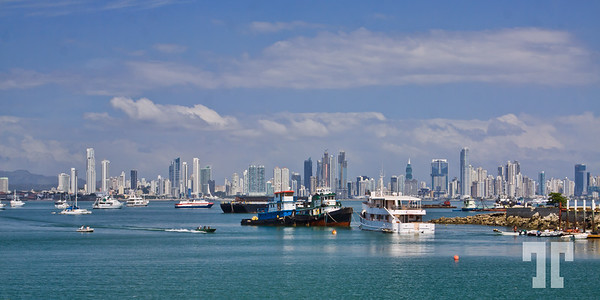 Panama City skyline - taken in the middle of the day.  Viewed from Amador Peninsula across Panama Canal  (aa)