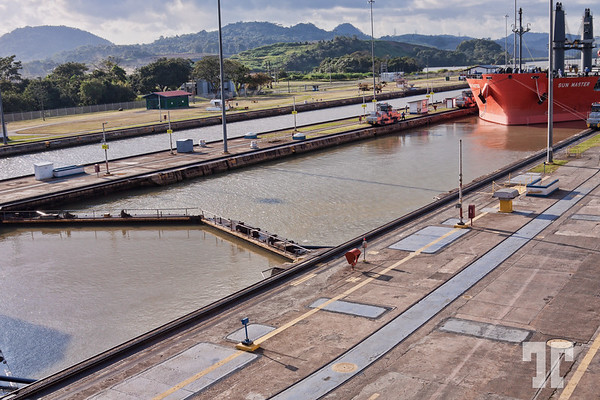 Crossing Panama Canal at Miraflores, Panama City