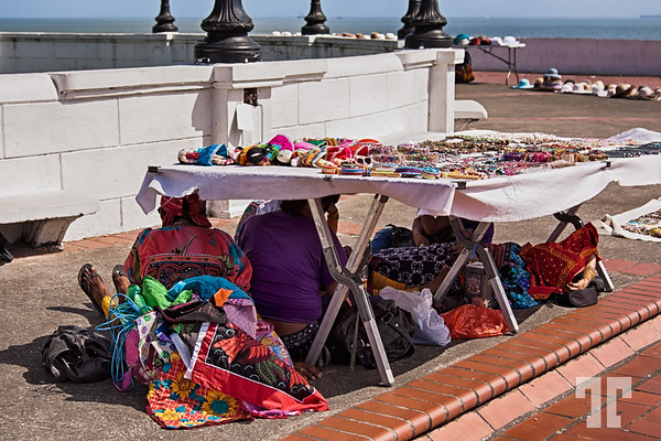 Kuna vendors, hiding from the heat of the sun - Panama Casco Viejo