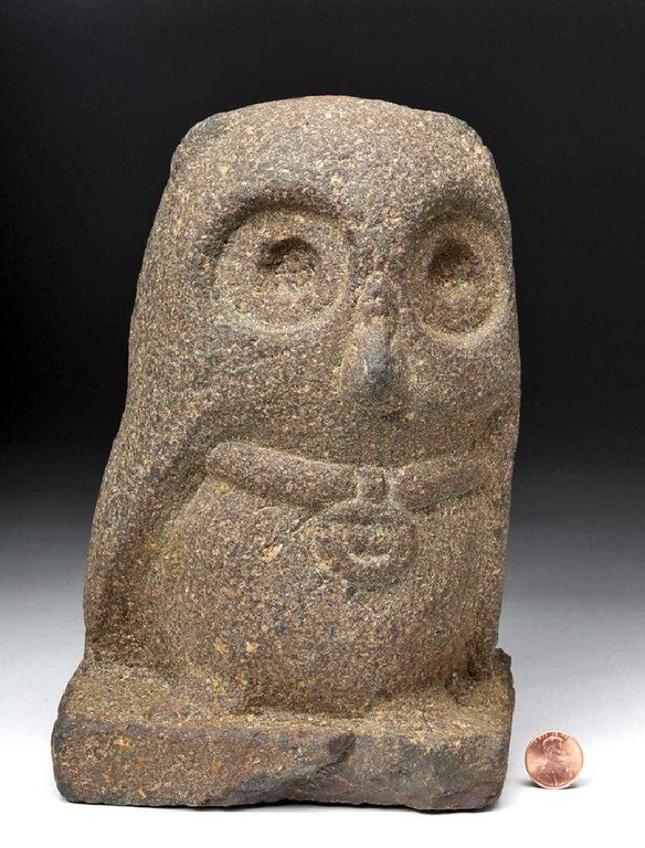 . $2,750: A sculpture of an owl carved from volcanic stone from the pre-Columbian Guatemala Highlands. Circa 250-900 CE One of the pieces of ancient and ethnographic art that were auctioned off by Artemis Gallery on Christmas to raise money for Community Food Share in Louisville.