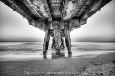 Underneath the Pompano Beach pier in SOFL. HDR composition at different exposure intervals.