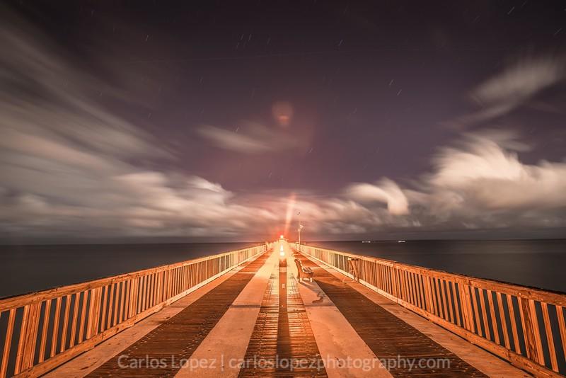 Night sky at Pompano Pier