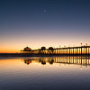 Crescent Moon Over Huntington Pier