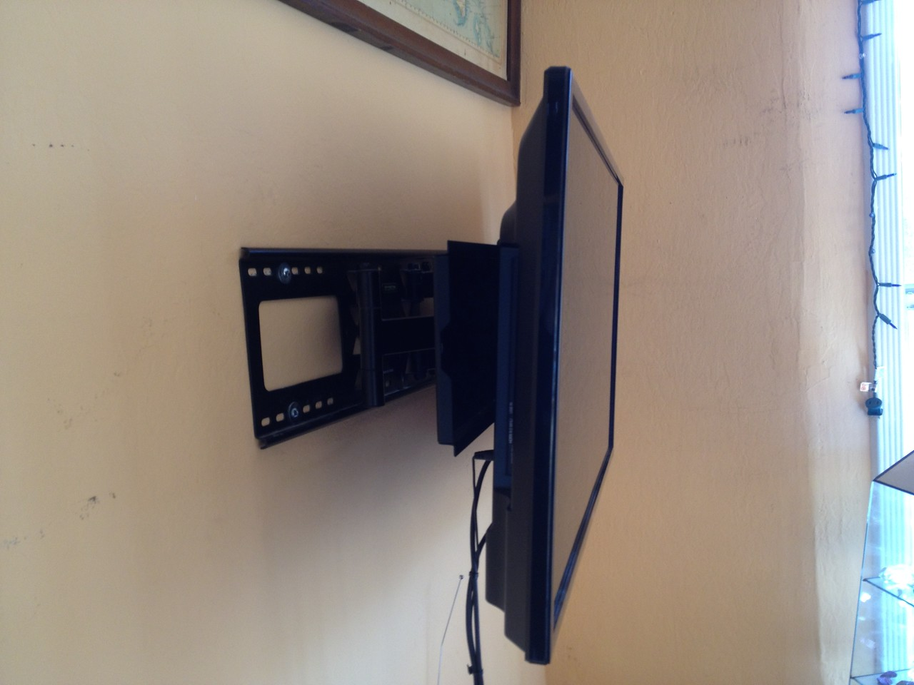 TV bracket installation, points 45 degrees in either direction.