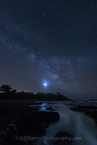 Milkey Way, Saturn & Mars over Pigeon Point Lighthouse