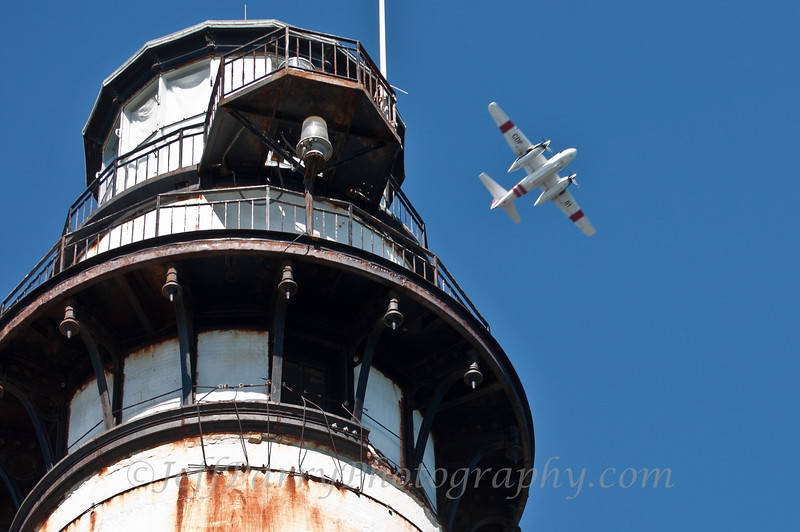 CDF Plane over Pigeon Point Lighthouse