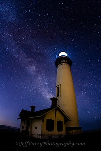 Pigeon Point Lighthouse shines below the Milky Way Galaxy