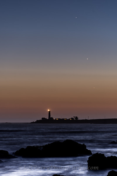Tripple Planet Conjunction of Mercury, Venus and Jupiter over Pigeon Point Lighthouse just after sunset on Thursday May 30th, 2013