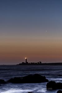 Murcury Venus Jupiter over Pigeon Point Lighthouse