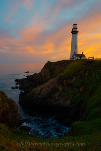 Rocky cove sunset at Pigeon Point Lighthouse