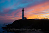 Blue pink and gold sunset at Pigeon Point Lighthouse