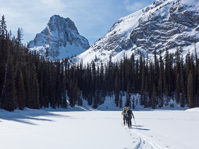 Crossing Commonwealth Lake, on the way to the saddle visible below Commonwealth Peak.