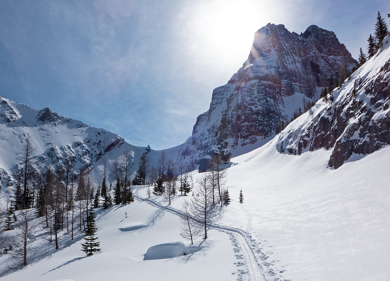 """Onwards to the """"lunch rocks"""", and then around the corner to the right below the peak."""