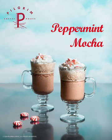 Pilgrim Coffeehouse Holiday Peppermint Mocha Ad