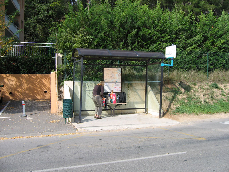 View of the Bus stop across from Darlene's Apartment