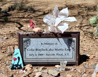 """Grave marker for Celia """"Mattie"""" Earp, common-law wife of Wyatt Earp (2018)"""