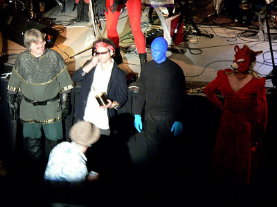 Contestants line-up for the costume contest.  Mideveil T.C., Keith Richards, Blueman(winner of the best male costume) and Foxy again.