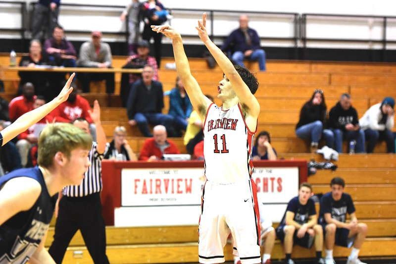 Fairview's Mark O'Neill releases a 3-pointer during the first round of the Class 5A state tournament on Wednesday night at Fairview High School.