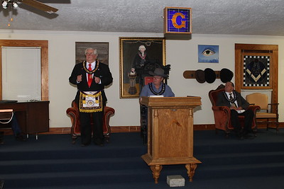 W:B: James Blossman, DGL 14th Masonic District, addresses the guests who attended the Bring A Friend Program.