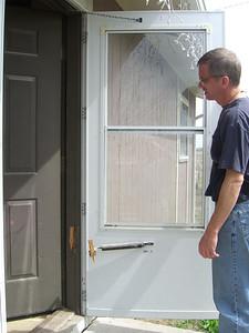 Damage to front door.