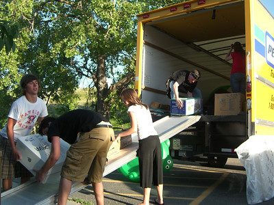 Unloading the truck. Yep - high schoolers did most of the work.  :)