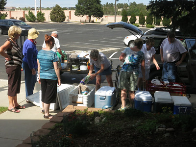 Late Thurs afternoon, July 4th - time to pack and load everything at St Mike's for our Community Meal and Giveaway. ... Lots of ice chests to fill.