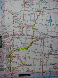 We'll be heading up I-25 to Denver, then NE on I-76 to Sterling; then north through Nebraska to Pine Ridge, which is just across the border into South Dakota - 400 miles in about 7.5 hours. [Any image can be enlarged: move mouse over it; from menu that appears on the right, select the size; when done, click Close in upper right.]