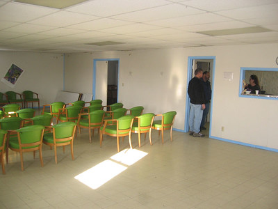 Inside meeting hall next to church.