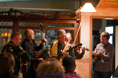 Jack starting the song out with the banjo. From left, Bill Neaves on guitar, Ted Lowe on bass, Jack Mauer on banjo, John Joyner on fiddle and Chad Fadely on mandolin.