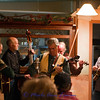 Jack starting the song out with the banjo.<br /> From left, Bill Neaves on guitar, Ted Lowe on bass, Jack Mauer on banjo, John Joyner on fiddle and Chad Fadely on mandolin.
