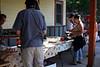 The food, buns, vegies, orzo  and potato salad, slaw, shredded BBQ pork, burgers, hot dogs....