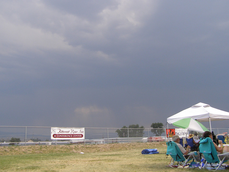 A lightning storm skirted the valley to the east and north