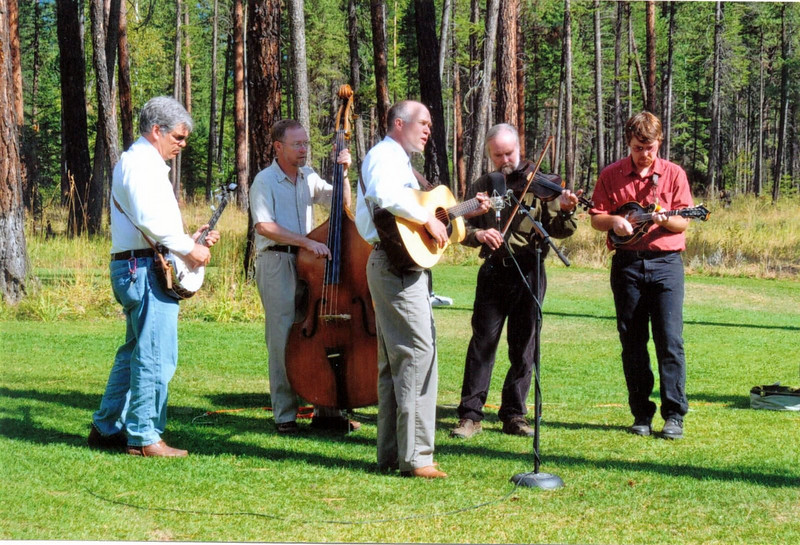 Pinegrass playing at a wedding in Missoula