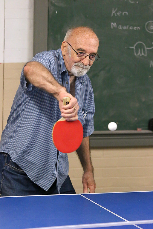 . Darrel Hopkins, 72, plays some ping pong at the Fitchburg Senior Center on Thursday, May 18, 2017. SENTINEL & ENTERPRISE/JOHN LOVE