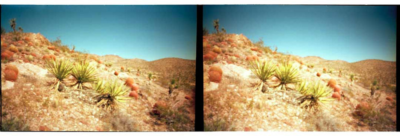 Stereo images of Barrel Ridge near Searchlight, NV.  This is a very dangerous hill to sit down on.