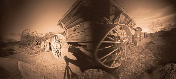 More Wagon Wheels - Multiple individual exposures with three of the shutters not fully engaged.  The shutter mechanism is much smoother when all six shutters are used together.  Individual exposures require a very firm push on the shutter release plunger, as I learned on this day.  Even the mistakes with this camera are fun.