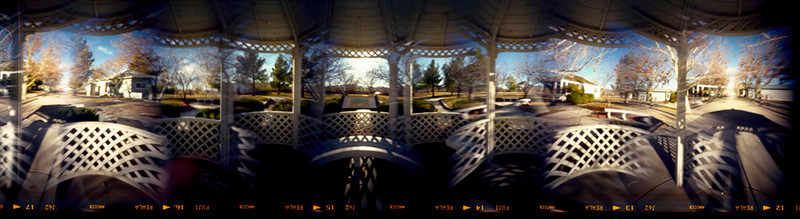 Heritage Gazebo - Shot from the center of a gazebo, this blending covers about 420 degrees.  Note the same street on each end of the image.