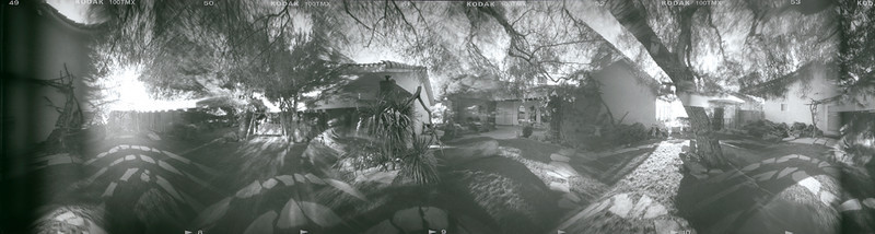 Back Yard Madness - Six simultaneous exposures of almost 360 degrees.  Each of the component pictures in this image are flipped and are displayed in the wrong rotation (left-to-right not right-to-left.)