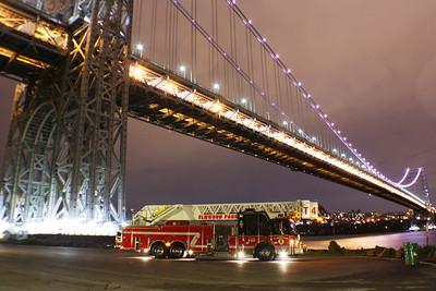 George Washington Bridge lit up in Pinkish Purple for cancer awareness month  10-13-12