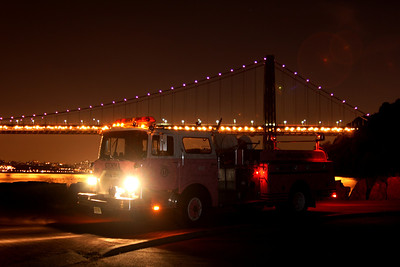 GWB 80th Anniversary & Lit up in purple for breast cancer awareness month 10-23-1