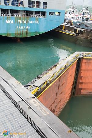 Ship in lock at Miraflores Locks